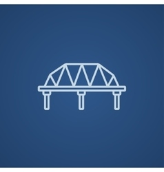 Rail way bridge line icon vector image