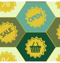 Seamless background with sale sticker vector image
