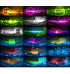 Set of abstract neon glowing magic backgrounds vector