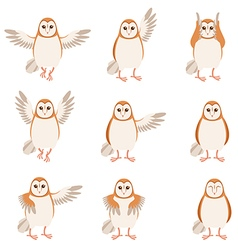 Set of flat screech-owl icons vector
