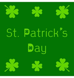 St patricks day card with clover leaf vector