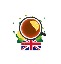 tea time cup of tea with lemon english tea vector image
