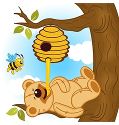 Teddy bear eats honey bee vector