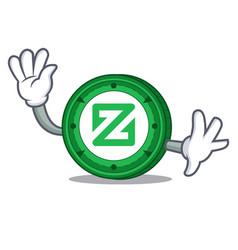Waving zcoin character cartoon style vector