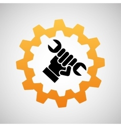 construction gear icon hand wrench vector image