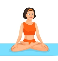 Young girl sitting in lotus posture practices yoga vector