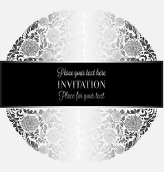 baroque background with antique luxury silver vector image