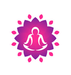 Yoga logo template man meditating over lotus vector