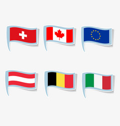 Flags italy canada european union vector