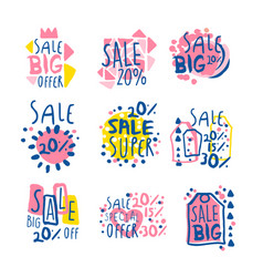 Super sale set for label design sale shopping vector
