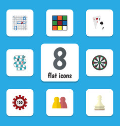 Flat icon games set of poker ace people and vector