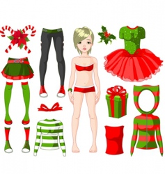 girl with Christmas dresses vector image