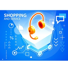 Bright shopping trolley and head phone on bl vector