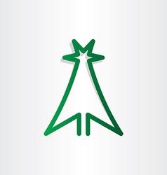 christmass tree green line icon design vector image