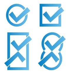 Blue tick icons vector