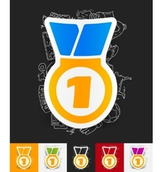 Medal paper sticker with hand drawn elements vector