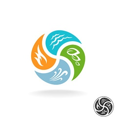 Four natural elements logo fire water air wind and vector