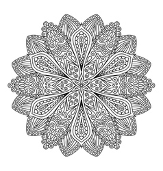 Intricate flower coloring page vector