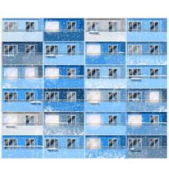 Apartments in winter night vector