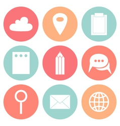 Business flat circle icons vector