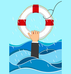 Business man drowns holding lifebuoy in waves vector