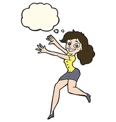 Cartoon happy woman jumping with thought bubble vector