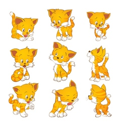 cute yellow cat actions vector image vector image