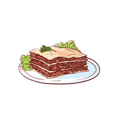 delicious lasagna isolated icon vector image
