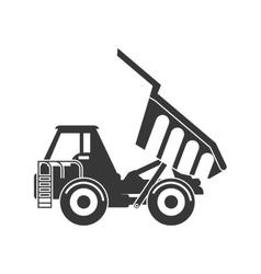 Dump truck icon under construction concept vector