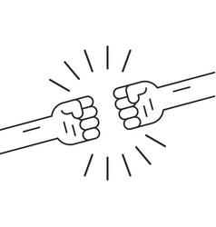 fighting gesture with two thin line fists vector image