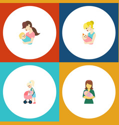 Flat icon mam set of woman parent child and vector