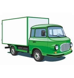 Green delivery truck vector