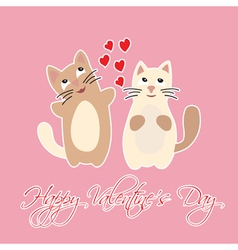 Happy Valentines Day with hearts and cats vector image