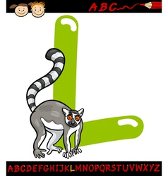 Letter l for lemur cartoon vector