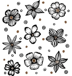 light background with graphic flowers vector image vector image