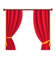 Long silk red theater curtain hangs on cornice vector