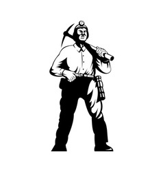 Miner with with pick axe walking vector
