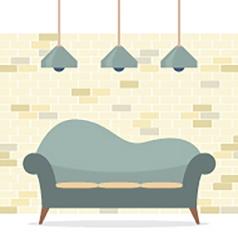 Modern flat design sofa interior vector