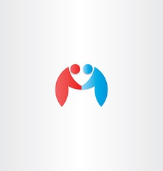 People handshake icon letter m logotype vector