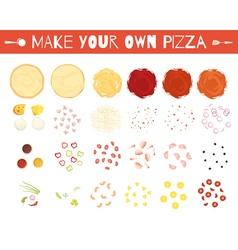 Pizza elements cartoon style set vector