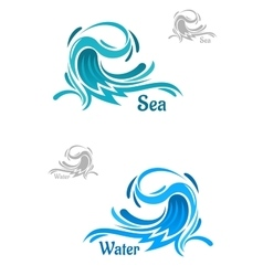 Powerful blue ocean wave icons vector