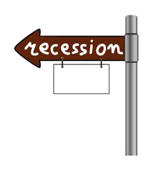 Recession on signboard color vector