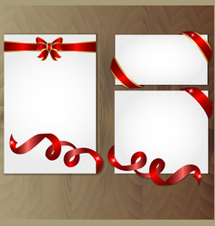 red and gold gift bows and ribbons vector image vector image