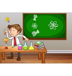 Science teacher experimenting in classroom vector image vector image