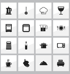 set of 16 editable cook icons includes symbols vector image vector image