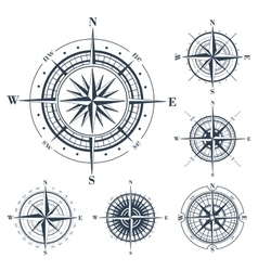 Set of compass roses isolated on white vector image