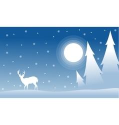 Silhouette of spruce deer wityh moon christmas vector