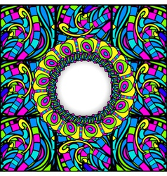 Stained-glass abstract round frame vector