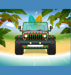 Surfing jeep on the beach vector