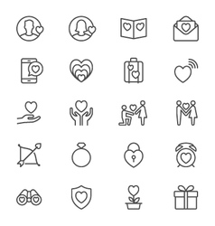 Valentines day thin icons vector